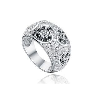 Sterling Silver Dome Ring w Paved Black White CZ